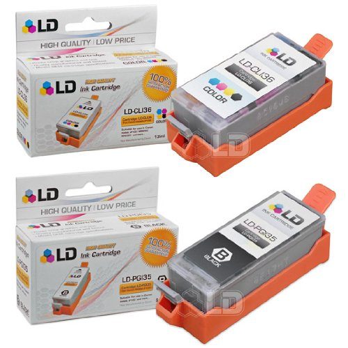 LD Compatible Canon PGI35 and CLI36 Set of 2 Ink Cartridges: Includes 1 Black and 1 Color Cartridge for the PIXMA iP100