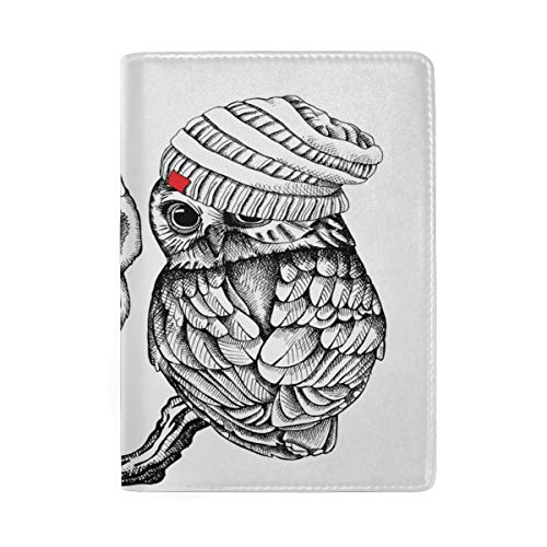 Owl Couple Leather Travel Passport Cover Holder Case for Men Women by XiaoCeng