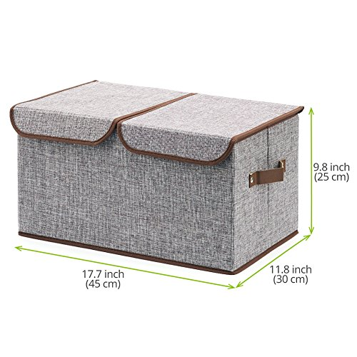 large storage boxes 3 pack ezoware large linen fabric import it all. Black Bedroom Furniture Sets. Home Design Ideas