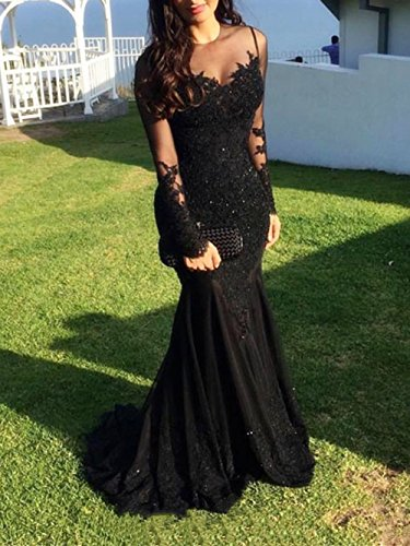 Dresses Navy Ball Illusions Yun Long Ri Prom Formal 2018 Gowns Sleeve Mermaid Beaded Appliques Evening Blue Lace Sexy XFn4qp
