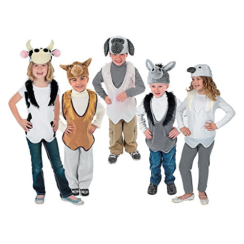 Fun Express Nativity Costume Animal Slip-On Vest and Hat Sets