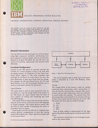 Ibm Device - IBM 650 Data Processing System Bulletin: Sconsole & Special Devices 1958