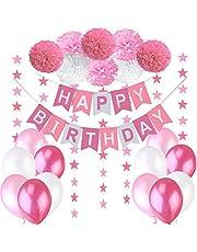Jonami Happy Birthday Decorations Girl, 1 Happy Birthday Bunting Banner + 8 Flower Pom Poms + 6 meters Star Garlands + Latex Balloons Pink White Fuchsia