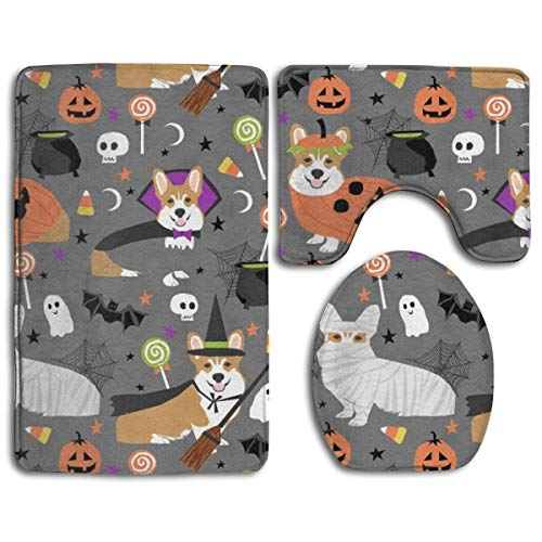 Bathroom Mat Corgi Dog Halloween Costume Mummy Vampire Ghost just Dog Fabric Gray 3 Piece Set Non-Slip Pads Rugs (20