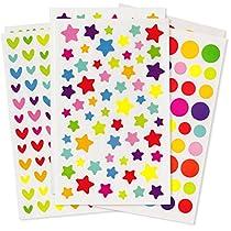 400 Bunte Stern, Herz und Kreis Aufkleber auf 6 Sticker Karten