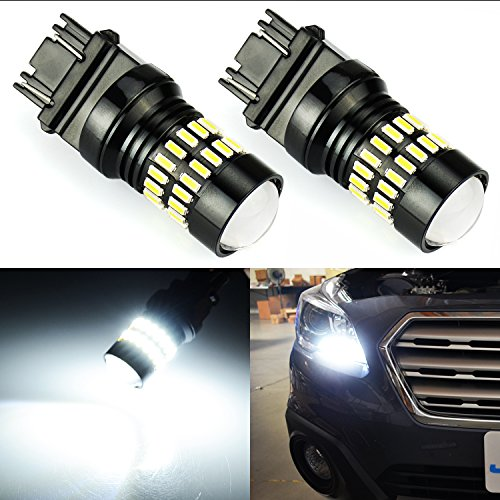 JDM ASTAR 1000 Lumens Extremely Bright 4014 Chips 3156 3057 3157 4057 4157 LED Bulbs with Projector,Xenon White(ONLY used for backup reverse lights) ()