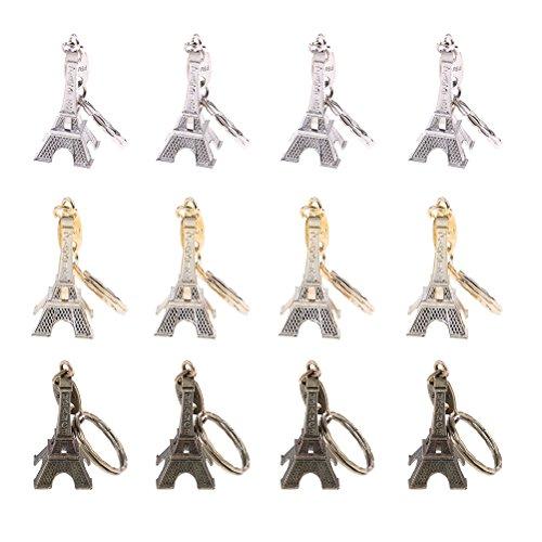 12 Pcs/Lot Eiffel Tower keychain 3D French Souvenir Paris Keyring Cute Adornment in 3 ()