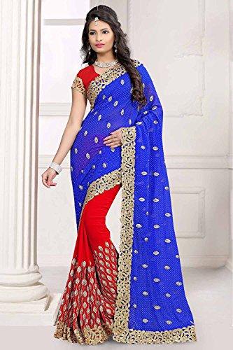 Da RaniSari Blue Red Facioun Indian Sarees Women Chiku Designer Party for Wear Traditional 3 Wedding HHfrn