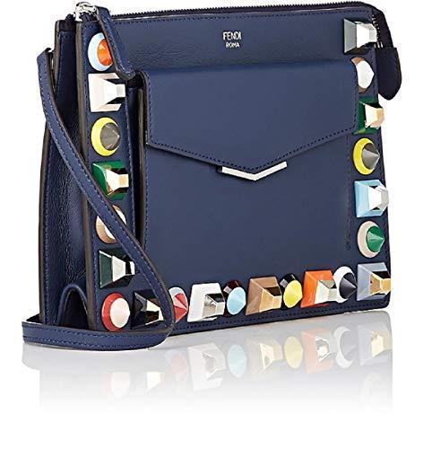 Blue Handbag Fendi (Fendi Mini Bag 2Jours Small Rainbow Collection Calf Leather Navy Blue crossbody 8M0369)