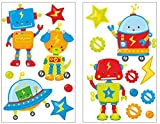 Samunshi 17 Piece Baby Ufo Robot Wall Tattoo Set for Child's Bedroom Baby Room, multicoloured, 2x 21x34cm
