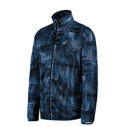 ASICS Men's Lightweight Woven Jacket, Poseidon Linear Blur, (Running Woven Jacket)