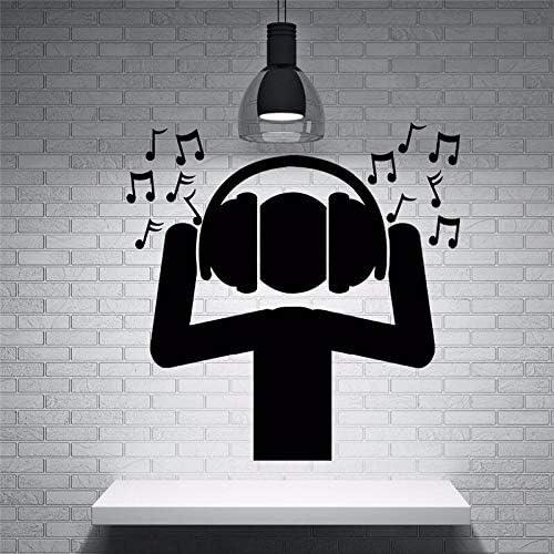 haotong11 Negro No tóxico Material de PVC Pegatinas de Pared Ventilador DJ Música Auriculares Ondas de Sonido Notas Etiqueta de la Pared Home Music Party Deco 42 * 43 cm: Amazon.es: Hogar