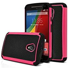 Moto G 2nd Gen Case, MagicMobile [Dual Armor Series] Hybrid Impact Resistant Moto G 2nd Generation Shockproof Tough Case Hard Plastic with Silicone Protective Case for Moto G 2 (2014) [Black/Hot Pink]