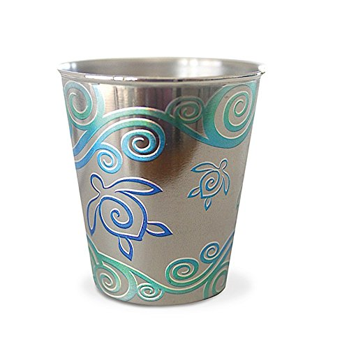 Hawaii Stainless Steel Shot Glass Honu Swirl