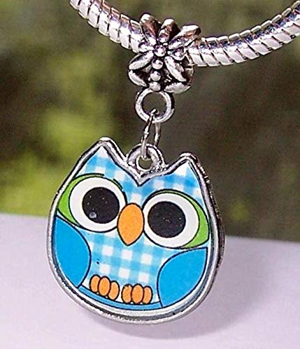 - Owl Blue Green Plaid Bird Lucite Dangle Charm for Silver European Bead Bracelets Vintage Crafting Pendant Jewelry Making Supplies - DIY for Necklace Bracelet Accessories by CharmingSS