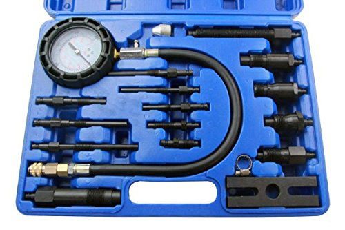 Qiilu Professional Petrol Gas Engine Cylinder Compression Tester Gauge Kit Auto Tool+Case