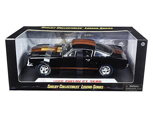 1966 Ford Shelby Mustang GT350H Hertz Black with Gold Stripes and Racing Wheels 1/18 Diecast Model Car by Shelby Collectibles SC360
