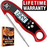 Digital Meat Thermometer - Best Waterproof Instant Read Thermometer with Calibration and Backlight functions (Red)