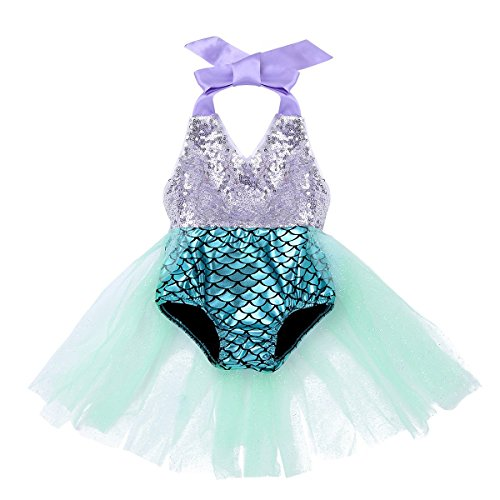 FEESHOW Toddler Baby Girls Mermaid Princess Bikini Swimsuit Halter Romper Tutu Fancy Dress Costumes Lake Blue -