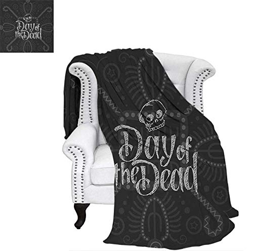 Custom Design Cozy Flannel Blanket Dia de Los Muertos Theme Hand Lettered Text with Skull Sketch Aztec Style Lightweight Blanket 60