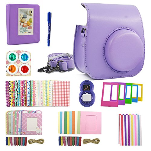 Shaveh Fujifilm Instax Mini 8/8+ Mini 9 Accessories, 11 in 1 Camera Set Include Camera Case/Album/Selfie Lens/Colored Filters/Wall Hang Frames/Film Frames/Border Stickers/Corner Stickers/Pen (purple) (Purple Kit)
