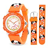Orange Dog Paw Print Animal Kids Watch Stainless Steel Back