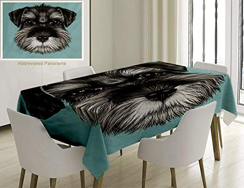 Unique Custom Cotton And Linen Blend Tablecloth Animal Illustration Of A Cute Baby Schnauzer On Blue Background Puppy Portrait Light Blue Black WhiteTablecovers For Rectangle Tables, 70 x 52 Inches]()
