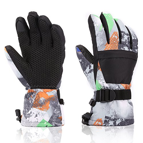 Yidomto Ski Gloves, Waterproof Warmest Winter Snow Gloves Mens, Womens, Boys, Girls, Kids (Black-L)