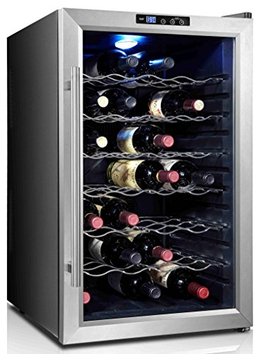 Home Life fur_fridge_cw80ad2_FBA Thermoelectric Stainless Steel LED 28 Bottle Wine Cooler, 29' x 20' x 18', Black
