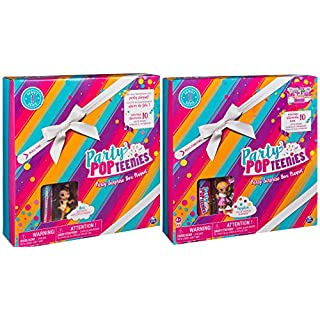 2 sets Popteenies Ava & Hayden - Rainbow Unicorn Party Surprise Sets with Collectible Exclusive Mini Doll, Pet, Confetti, Accessories AND Keepsakes Box- 20 Piece Set (2 Sets Included)