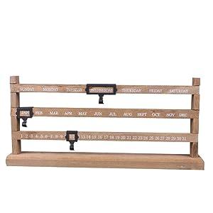 Vosarea Perpetual Desk Calendar, Sliding Wooden Calendar for Home Decor