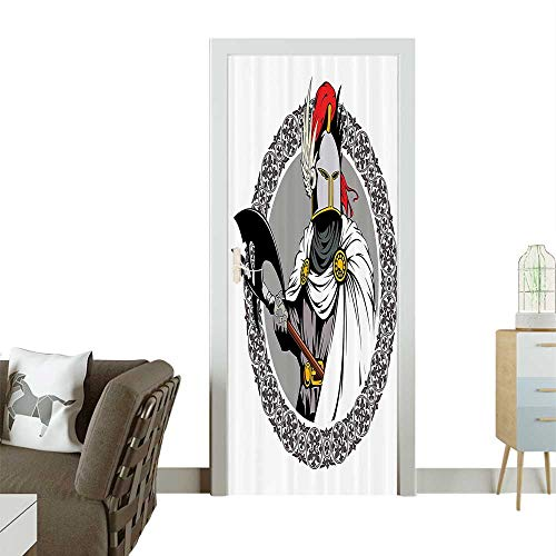 Door Sticker Wall Decals The Medieval Knight with Traditial Costume and Ancient Mask Easy to Peel and StickW36 x H79 INCH -