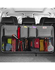 SURDOCA Car Trunk Organizer, 3rd Gen [8 Times Upgrade] Super Capacity Auto Hanging Organizers, Equipped with 4 Magic Stick, Car Trunk Tidy Storage Bag with Lids, Space Saving Expert, Black