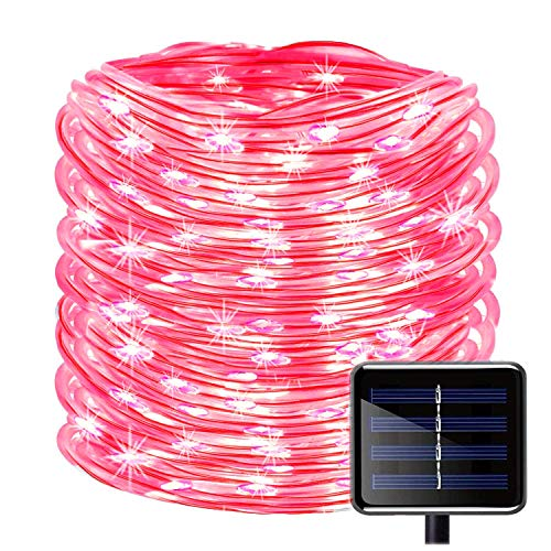 (SUNSEATON Solar Rope Lights,100 LEDs 39ft/12M Waterproof Solar String Copper Wire Light,Outdoor Rope Lights for Garden Yard Path Fence Tree Wedding Party Decorative (Red))