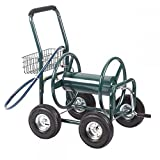 Ouhuang Garden Water Hose Reel Cart Outdoor Heavy Duty Yard Planting W/Basket C50