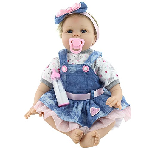 Reborn Baby Doll Girl Look Real Silicone Denim Dress 22 Inches Reborn Baby Girl