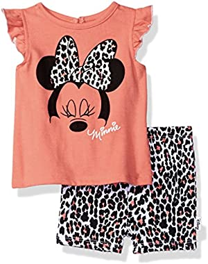 Baby Girls' Minnie Mouse 2-Piece Knit Top and Bike Short Set
