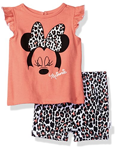 Disney - Little Girls Long Sleeve Minnie Mouse Pajamas, Ribbed Crewneck,, Minnie Mouse Graphic, Full Elastic Waistband Pant, Flame Resistant, % Polyester, Made in China, #