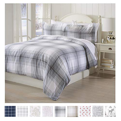 Extra Soft Printed Flannel Duvet Cover with Button Closure. 100% Turkish Cotton 3-Piece Set with Pillow Shams. Belle Collection (Full/Queen, Plaid - Grey)