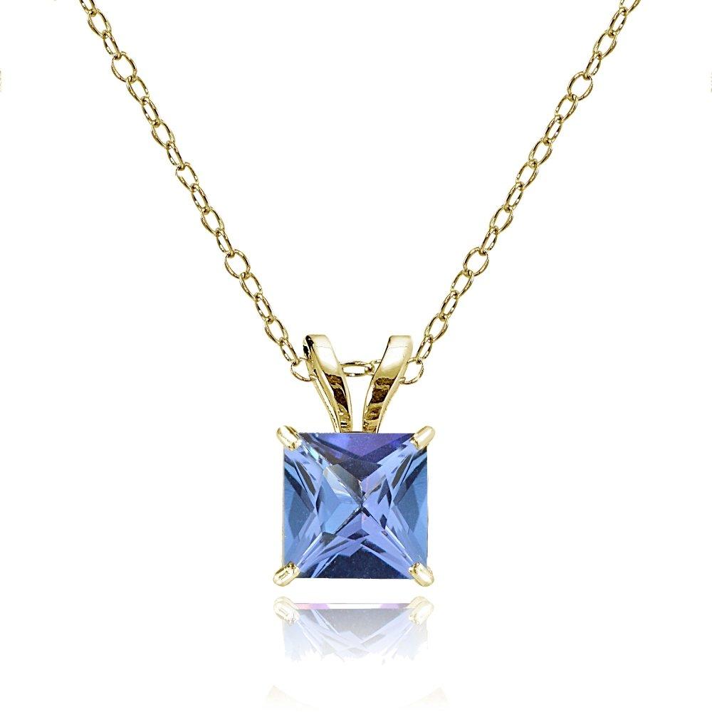 Bria Lou 14k Yellow Gold Tanzanite Gemstone 6mm Square-Cut Solitaire Pendant Necklace, 18''