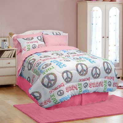 Veratex Peace and Love Bedding Collection Modern Graphic Kids Bedroom 4-Piece Comforter Set, Graphite, Queen Size