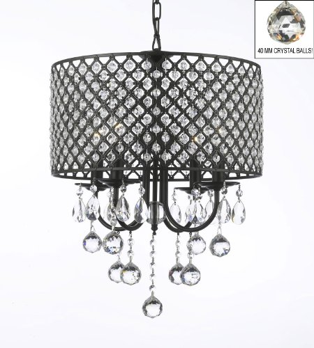 Wrought Iron 4 Light Round Crystal Chandelier Chandeliers Lighting With 40MM Crystal Balls! H16″ x W17″