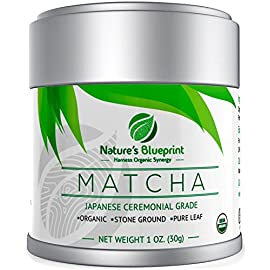 Matcha Green Tea Powder-Organic Japanese Ceremonial Grade Straight from Uji Kyoto, Premium Quality-1 oz Tin contains Powerful Antioxidant Energy for Non-GMO Health. 13 DRINKING NATURES BLUEPRINT CEREMONIAL GRADE MATCHA; gives you a cup full of all the earthy goddess mother nature has to offer, since this is a 100% pure leaf green tea powder that contains no additives, fillers, dyes, sweeteners or any other unnecessary ingredients for that matter, your body is absorbing the maximum amount of vitamins, minerals, and nutrients produced during the growing process, which you guessed it, also means you'll be receiving the maximum amount of benefits as well OUR MATCHA HOLDS NOT JUST 1, BUT 2 ORGANIC CERTIFICATIONS; between the USDA and JONA organizations, which means this is an incredibly safe tea for you to be drinking, these tests help to ensure that not only is this Japanese green tea grown without the use of harmful herbicides, pesticides, and fertilizers, it's also non gmo, vegan, and has always tested radiation free because it's grown in Uji, Kyoto Japan, a region known for producing some of the purest qualities of matcha green tea A HIGHLY EFFECTIVE ANTI INFLAMMATORY TEA; due to the strong presence of immune-boosting antioxidants, this tea powder contains exactly what is needed to help your body heal and provide protection from the damage caused by free radicals that studies suggest have the ability to manifest illnesses and disease