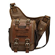 Colohas Casual Fashion Shoulder Backpack Canvas Sling Chest Military Leather Patchwork Bag Sport Running Bag Cover Bicycle Cross Body Bag Rucksack Travel Backpack Camping Bag Daypack(Khaki)-Great Christmas Birthday Gift for Families and Friends