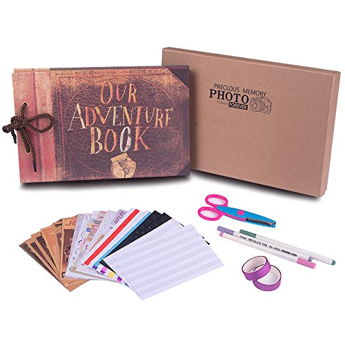 Our Adventure Book with Bonus Gift Box and Abundant DIY Accessories,Moive Postcards,Best DIY Scrapbook Photo Album 80 Pages,Retro Album Wedding Photo Album for Lover,Kids,Thanks Giving Gift,Christmas by QC HOME