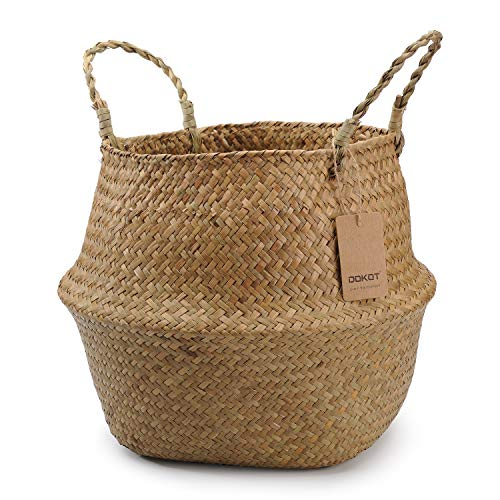 DOKOT Natural Seagrass Belly Basket with Handles, Round Wicker Storage Basket Planter