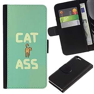 Be Good Phone Accessory // Caso del tirón Billetera de Cuero Titular de la tarjeta Carcasa Funda de Protección para Apple Iphone 6 4.7 // Cat Ass Funny Quote Animal Art Pet Feline