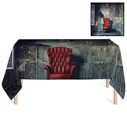 (SATVSHOP Decorative Table Cloth /70x132 Rectangular,Antique Luxury Armchair Floor Lamp in Grunge Interior Damaged Messy Abandoned House Windows.for Wedding/Banquet/Restaurant.)