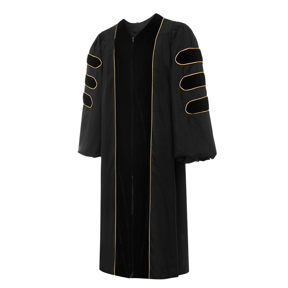 Doraemall Deluxe Doctoral Graduation Gown-Black Trim Gold Piping(Black Size 45)