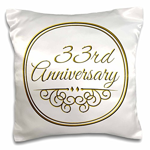 3dRose pc_154475_1 33rd Anniversary Gift-Gold Text for Celebrating Wedding Anniversaries-33 Years Married Together-Pillow Case, 16 by 16